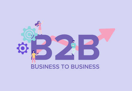 B2B business to business illustration. Marketing commerce system for transactions and industrial enterprises corporate economy and strategic financial supply electronic vector sales chain.