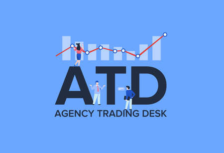 ATD agency trading desk for clients. Marketing system purchasing advertising various business models social digital resources strategy with infographic analytics capturing potential vector buyers.