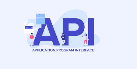 API application programming interface . Providing convenient coding and development technologies and interaction web elements custom optimization digital mobile vector clipart algorithms.