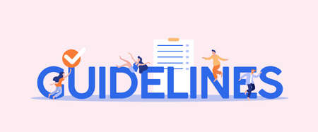 Guidelines and orders. Information management rule business guidance corporate policy regulation standard legal specifications management principles marketing presentation vector protocol line. Illusztráció