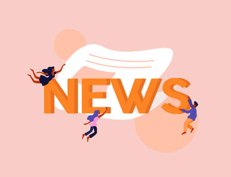 Global news illustration. Headline in latest informational newspaper important events of communication current day current topics and events interesting facts and vector sensations. Illusztráció