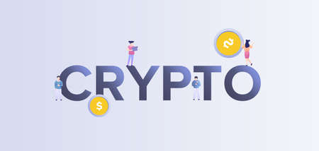Crypto digital currency illustration. Financial electronic market with technology of computer mining and virtual currency payment commercial transactions gold trading vector blockchain.
