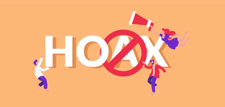 Hoax and fake illustration. Fraudulent information warning misinformation message propaganda victory and dissemination of deliberately false advertising to which must be treated with vector caution.