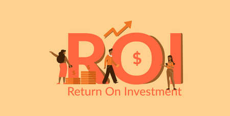 ROI return on investment. Profitable investment with successful marketing profit economic income management with analysis strategy for accounting promotional investments vector market strengthening.