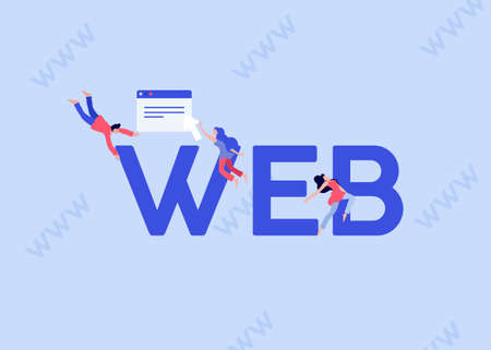 WEB development illustration. Online programming and coding of websites applications on computers and mobile devices communication home page and responsive marketing vector monitoring.