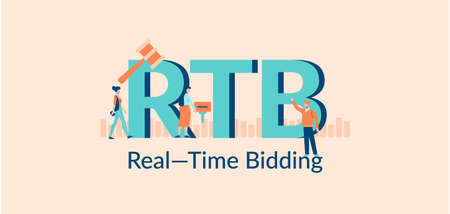 RTB real time bidding illustration. Selling advertising in financial market successful corporate business with marketing advertisers promotion of funds in due time.