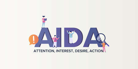 Aida marketing model of consumption . Attention to client causing his interest desire to act and make purchases corporate management advertisement scheme promoting flat vector advertising.