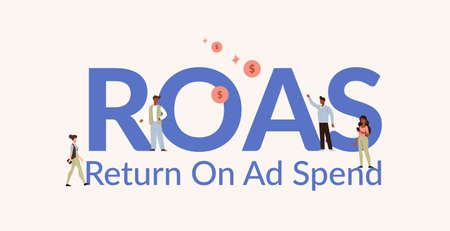 ROAS return on ad spend illustration. Investment profit and income from financial transactions analysis profitable assets and calculation net earnings creation industrial control over vector capital. 일러스트