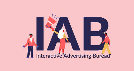 IAB interactive advertising bureau. Marketing information business and promotion of services through media social technologies inactive interaction commercial relations and vector management.