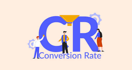 CR conversion rate illustration. Marketing optimization and business strategy for finding traffic on web sites sales development technologies and transformation of vector content. Illusztráció