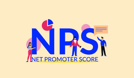 NPS net promoter score illustration. Marketing corporate system with financial success strategy advertising financial acronym and accounting management vector business leadership element.