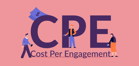 CPE cost per engagement illustration. Marketing advertising promotion business optimization electronic web management service with monetary strategy and paid vector information.