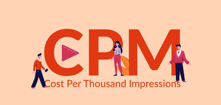 CPM cost per thousand impressions. Marketing advertising finance management creative online viewing concept sales technologies and progress building strategy search viewing business vector market.