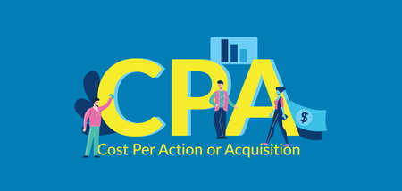 CPA Cost per action or acquisition Payment for cost effective online advertising team strategy corporate accounting certified corporate cash accounting web marketing vector profit.