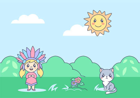 Indian child with kitten on summer anime lawn illustration. Joyful cartoon child with colored feathers headdress playing with happy cat bright smiling sun illuminates flower and green vector meadow.