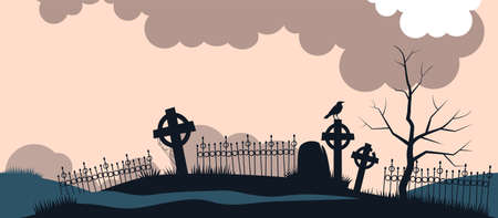 Ancient cemetery at dawn background. Old crosses and gravestones silhouettes with sitting raven destroyed fences unkempt burials gloomy forgotten religious burials with use of ancient vector magic.