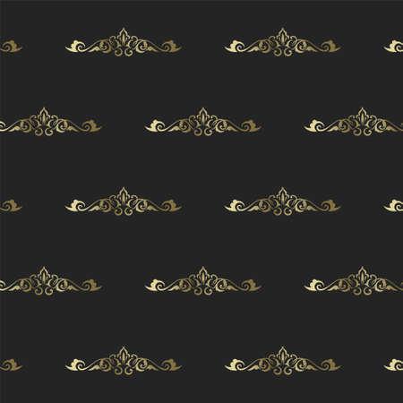 Vintage heraldic seamless pattern. Intertwining gold ornament in rich victorian style on dark background vintage Baroque and Renaissance graphic art elegant floral vector swirls.