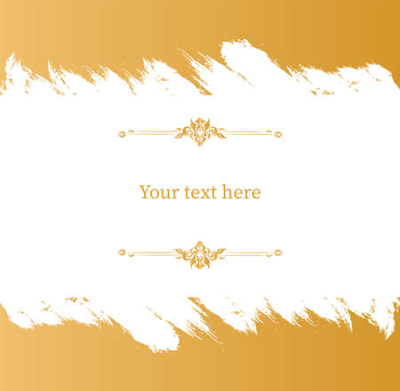 Grunge gold frame banner. Retro template ornate with ornaments with central white background for your text diary note annotations vignette magazine schedule with Victorian lace elegant vector .