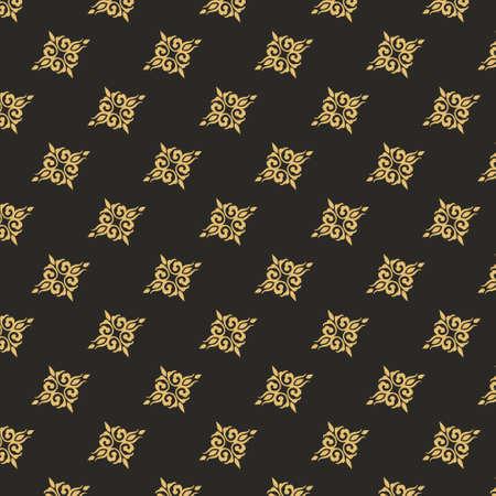 Gold vintage ornament seamless pattern. Retro victorian floral tracery ornament baroque decorative element elegant classic filigree luxury antique element royal vector invitation. Illusztráció