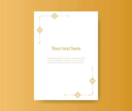 A4 sheet with vintage frame template. Retro banner ornate with gold ornaments blank center for your text diary note for annotations magazine schedule with Victorian lace elegant vector vignette.