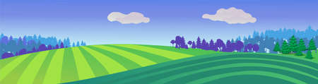 Striped green meadows. Natural summer landscape with farm fields and forest on horizon rural harvest season pure organic farming blooming land with abundant vector crop. 일러스트