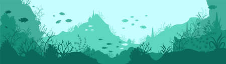 Green underwater world silhouette background. Deep seaweed corals growing on rocks and hills tropical fish swimming in small schools natural aquatic vector landscape with beautiful ecosystem.
