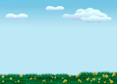Green meadow with flowers. Cool summer landscape with young grass and foliage yellow daisies rare white clouds against blue sky hot sunny day blooming vector pasture.