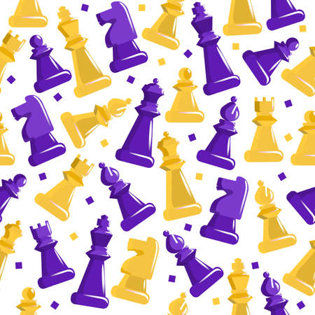 Chess seamless pattern. Purple and yellow figures on cage field ancient strategy game developing logic decorative vintage art with beautiful textures logic battle vector competition. Ilustração