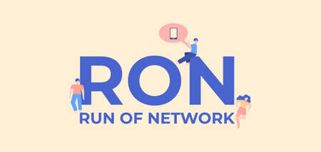 RON run of network. Development and coding technologies application web software digital graphic scripts and business monitoring interfaces poster of mobile vector applications. Ilustración de vector