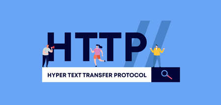 HTTP hyper text transfer protocol. Programming and coding technologies and web software digital graphic scripts and business monitoring interfaces poster of mobile vector applications.