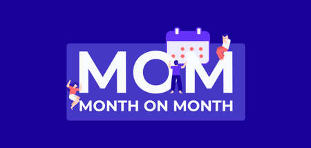 MOM month on month. Calendar dates of profitable trade and successful financial income distribution corporate business protection of retail product industrial loans and vector countering.