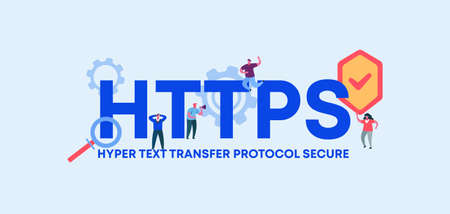 HTTPS hyper text transfer protocol secure. Coding and programming technologies and web software digital graphic scripts and business monitoring interfaces poster of mobile vector applications.