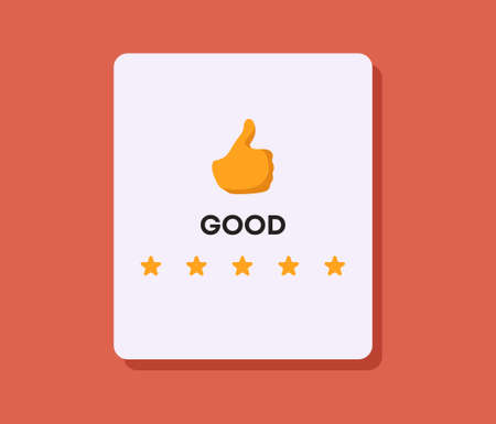 Good rating concept. Thumb up with line of stars positive reviews from satisfied customers satisfaction with marketing of service poll user comments selection online stores and vector applications.
