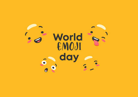 World emoji day. Emoticons character outlines on yellow background joyful messenger and sad faces expression of vector success and yellow surprise crying feelings in social networks.