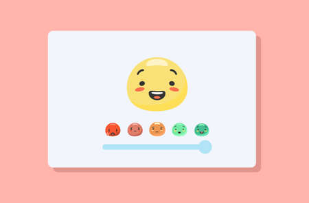 Slider for colored emotions. Emoji user feedback with emotion rating happy green smiling and upset red crying productive relationship emoji opinion research and vector mood swings.