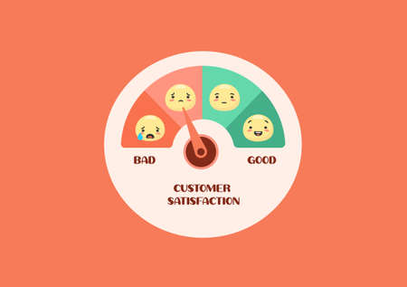 User satisfaction meter. Relationship dial with arrow emoji customer feedback with emotion rating happy green smiling and upset red crying productive emoji opinion research and vector mood swings. Illustration