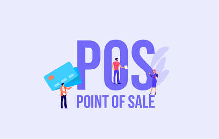 POS Point of sale concept. Payment by cash and credit card social media marketing technologies informational online reference for advertising and user support promotional email messages and vector.