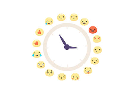 Clock emoticons of moods. Dial with arrow of characters red like with heart expression joyful and sad faces success and yellow vector surprise crying lovingly touching feelings in social networks.