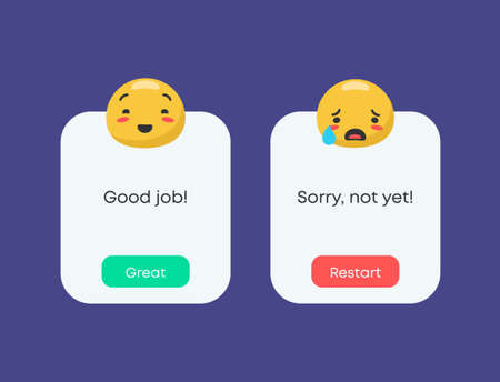 Excellent and restarting template. Game passage of level with joyful smile good job and crying sorry not yet satisfaction with marketing of service poll user comments selection online stores vector.