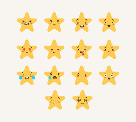 Cartoon star emoji rating. Set emotions of characters stars with joyful and sad faces expression of success and yellow surprise crying and lovingly touching feelings in vector social networks.