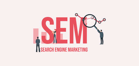 SEM Search engine marketing. Business management investment business strategy payment by cash and credit card social marketing technologies vector informational online reference for advertising .