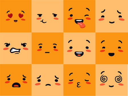 Emogi face square. Emotional characters experience yellow joyful hearts with love eyes astonished sobbing distraught pensive with poker face vector communication and entertainment in social networks.