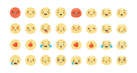 Cartoon emoji set. Emotions of characters red like with heart joyful and sad faces expression of success and yellow surprise crying and lovingly touching feelings in vector social networks.