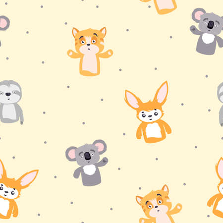 Cartoon funny animals seamless pattern. Little gray koala waving its paw yellow joyful tiger amazed sloth cub cute orange hare happy playful animals with hand drawn enthusiastic vector faces.