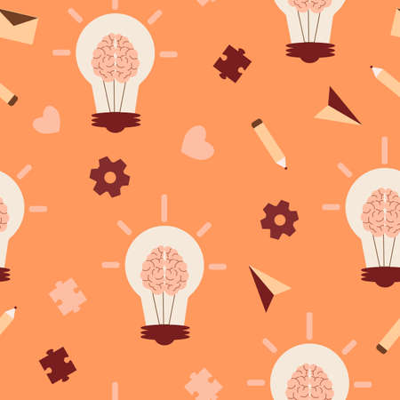 Creative thinking seamless pattern. Bright orange light bulb with brain brown puzzle pieces gears and yellow pencil art of imagination and process of fashion expression vector thought