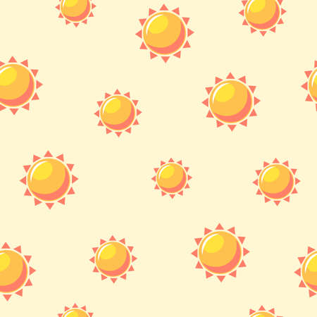 Warm suns seamless pattern. Bright orange lights on pale yellow background high warming up temperature and pleasant after cold winter relaxation on tropical vector beach. Ilustracja