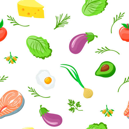 Keto diet seamless pattern. Green lettuce purple fresh eggplant appetizing half of avocado with bone salmon red steak with white scrambled eggs with orange yolk olives on vector branch.