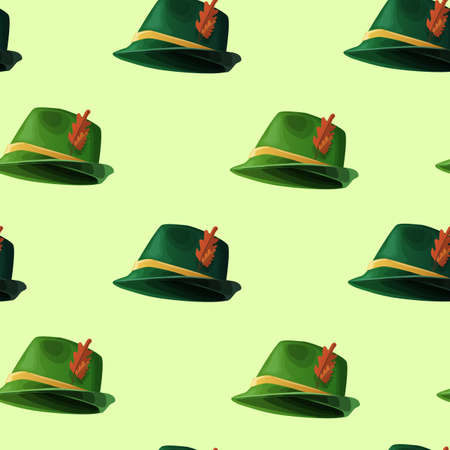 Hunting retro hats seamless pattern. Green vintage headdress with red leaf and yellow stripe traditional merry german oktoberfest holiday beer festival vector tradition.