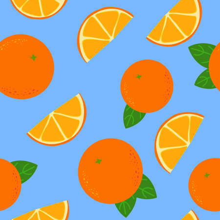 Oranges and tangerines seamless pattern. Whole and orange citrus slices with green leaves fresh organic fruit with vitamins trace elements decorative floral ornament on blue vector background.