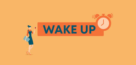 Wake up poster. Morning rise and starting new things depriving you comfortable sleep with help of alarm clock timing new project and developing creative vector startup.